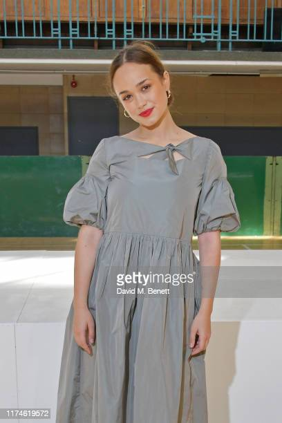 Rose Williams attends the Molly Goddard front row during London Fashion Week September 2019 at the Seymour Leisure Centre on September 14 2019 in...