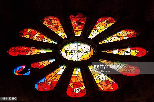 A rose window dedicated to Our Lady of Fatima is seen at the basilica of 'La Sagrada Familia' on October 26 2015 in Barcelona Spain 'La Sagrada...