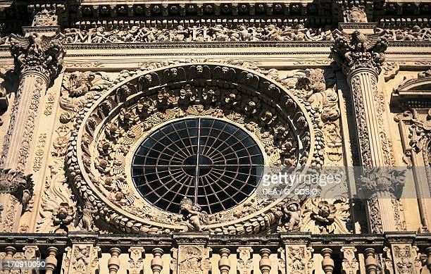 Rose window detail from the facade of Basilica di Santa Croce by Giulio Cesare Penna Lecce Puglia Italy