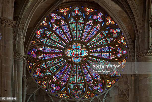 Rose window in Basilica of St. Nazaire and St. Celse