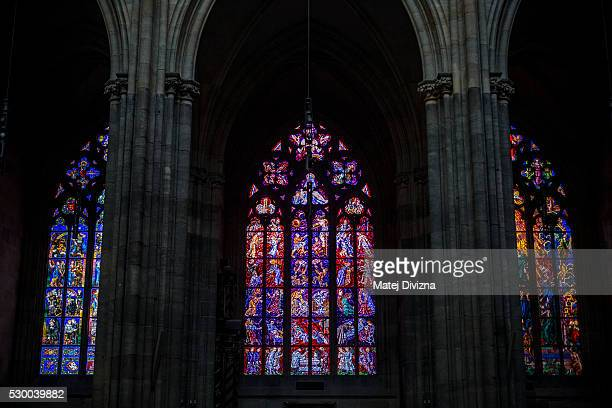 Rose windows are seen at the St Vitus Cathedral on May 9 2016 in Prague Czech Republic Ruler Charles IV began the construction of the St Vitus...