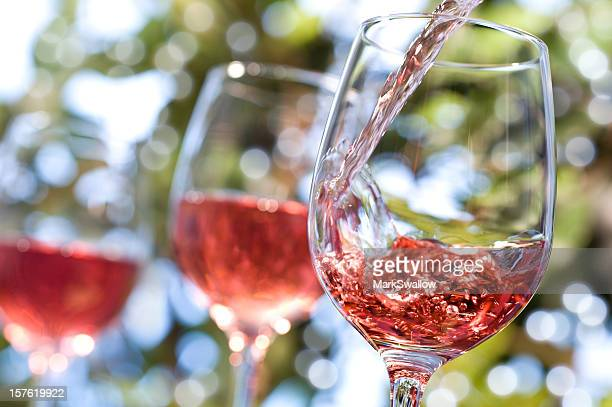 rose wine alfresco - rose stock pictures, royalty-free photos & images