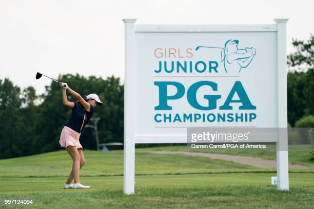 Rose Zhang hits her tee shot on the 18th hole during Round Three of the Girls Junior PGA Championship held at Kearney Hill Golf Links on July 11,...