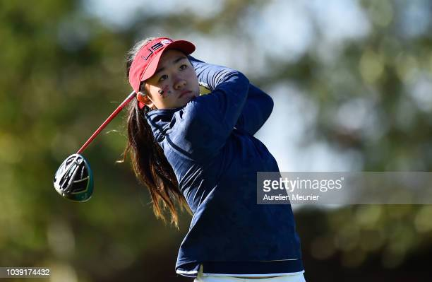 Rose Zhang of Team USA plays a shot during the foursomes on day one of the 2018 Junior Ryder Cup at Disneyland Paris on September 24 2018 in Paris...