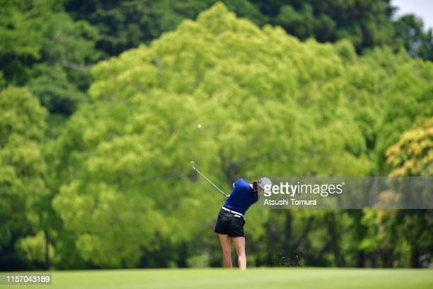 Rose Zhang of the United States hits her second shot on the 7th hole during the third round of the Toyota Junior Golf World Cup at Chukyo Golf Club...