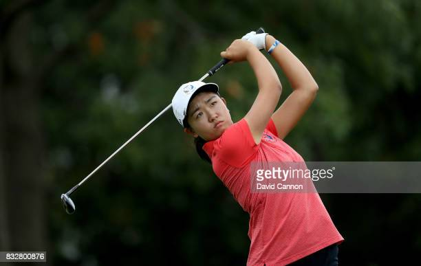 Rose Zhang of the United States team in action during the 2017 Junior Solheim Cup matches at the Des Moines Golf Country Club on August 16 2017 in...