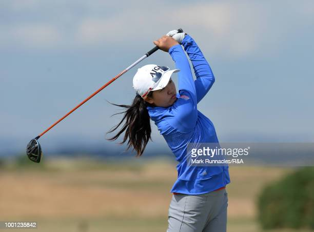 Rose Zhang of USA plays her tee shot at the 18th hole during the final day of the The Junior Open Championship at Eden Golf Course on July 18 2018 in...