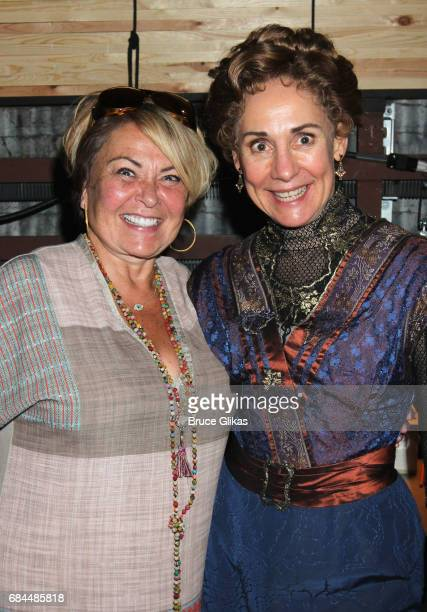 Roseanne Barr and Laurie Metcalf pose backstage at the hit play A Dolls House Part 2 on Broadway at The Golden Theater on May 17 2017 in New York City