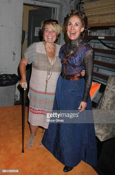 Roseanne Barr and Laurie Metcalf pose backstage at the hit play 'A Dolls House Part 2' on Broadway at The Golden Theater on May 17 2017 in New York...