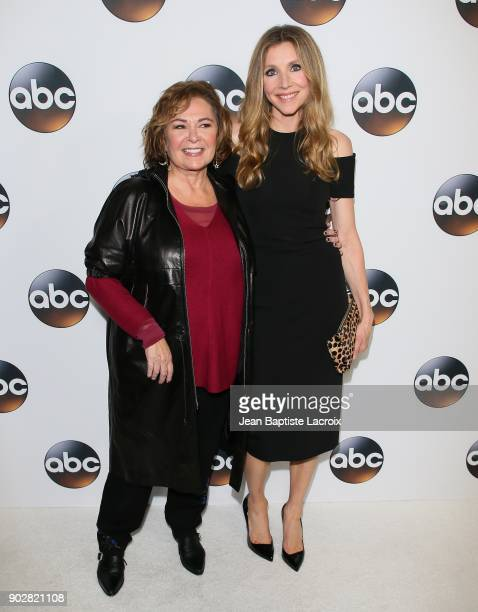 Roseanne Barr and Sarah Chalke attend the Disney ABC Television Group Hosts TCA Winter Press Tour 2018 on January 8 2018 in Pasadena California
