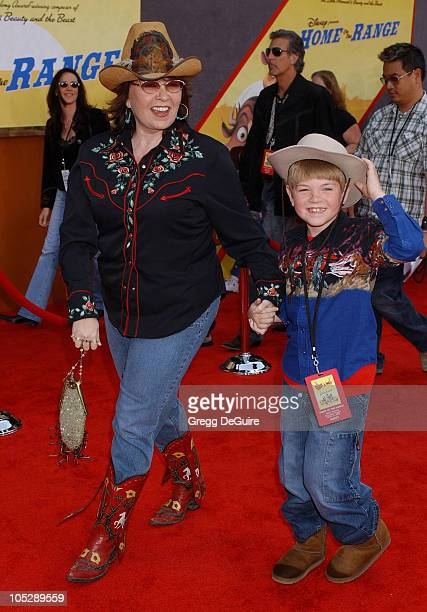 Roseanne Barr and son Buck during 'Home on the Range' Premiere Arrivals at El Capitan Theatre in Hollywood California United States