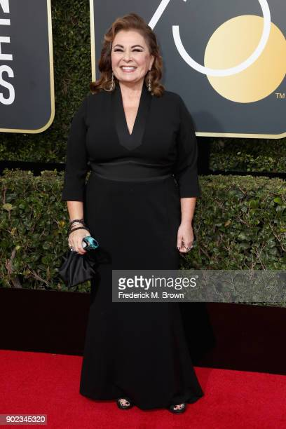 Roseanne Barr attends The 75th Annual Golden Globe Awards at The Beverly Hilton Hotel on January 7 2018 in Beverly Hills California
