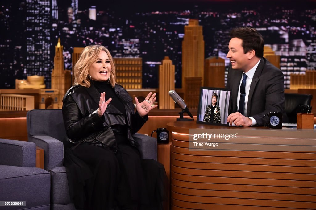 Roseanne Barr Visits 'The Tonight Show Starring Jimmy Fallon' on April 30, 2018 in New York City.