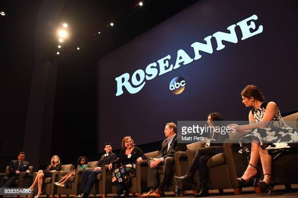 Roseanne premiere event with KWalt Disney Television via Getty Images contest winners. GEORGE PINOCCHIO, SARAH CHALKE, JAYDEN REY, MICHAEL FISHMAN,...