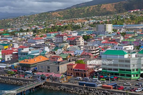 roseau skyline - dominica fotografías e imágenes de stock