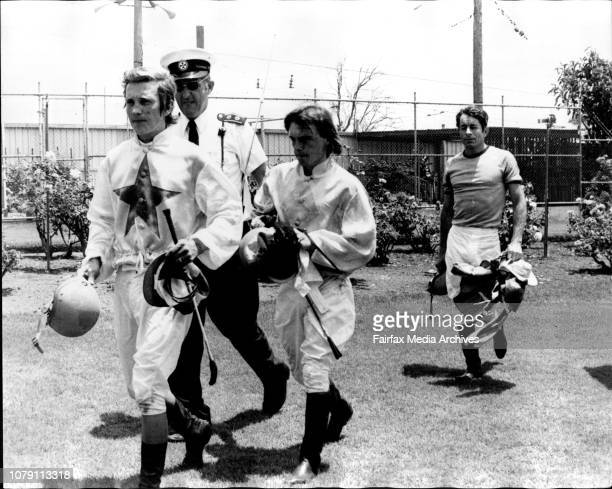 1st Race 1st Maiden HcpThree of the ***** fallen Jockey entering the Casualty roomLR B McClune T Greenwood W Camer December 18 1974