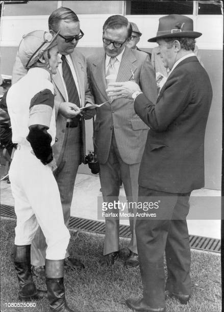Race 1Connections of Rhianydd R Quinton jockey and trainer TJ Smith owners Mr FD Calvin and Mr PE Sykes March 16 1974