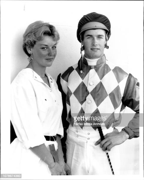 Race 2-Lady Scoot Storm Queen Stakes. Lisa Andrews with jockey Darren Beadmen. March 21, 1986. .