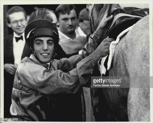 Rosehill Races Race 2Winner Galspray No 4R To S Galspray No 4Jockey A CavalloWinner's Smile Anthony Cavallo dismounting after his success aboard...
