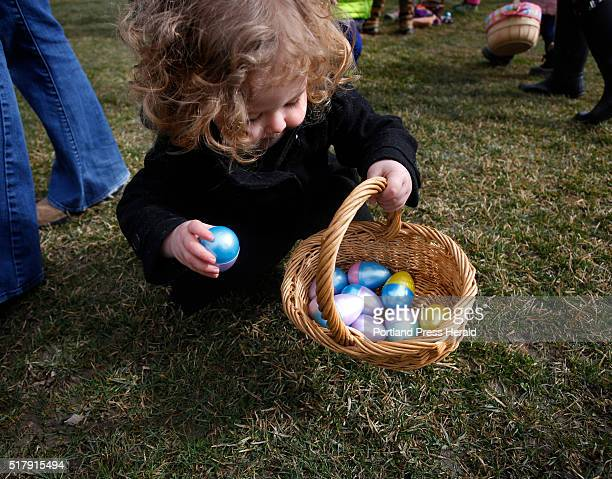 Roseline Brookes collects an egg at an Easter egg hunt at Royal River Park on Saturday March 26 2016 The event sponsored by Yarmouth Community...