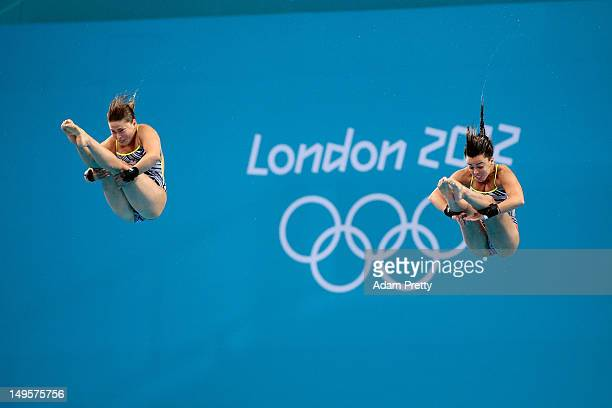 Roseline Filion and Meaghan Benfeito of Canada compete in the Women's Synchronised 10m Platform Diving on Day 4 of the London 2012 Olympic Games at...