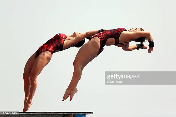 Roseline Filion and Meaghan Benfeito of Canada compete in the Women's 10m Platform Synchronised Diving preliminary round on day three of the 15th...