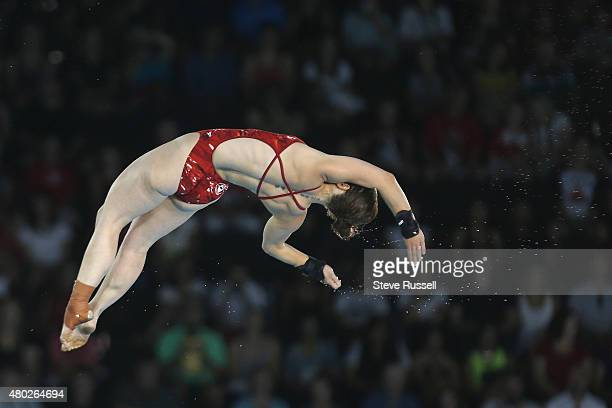 TORONTO ON JULY 10 Roseline Filion of Canada launches into a Back 2 1/2 somersault with a 1 1/2 twist in the pike position in the women's 10 metre...