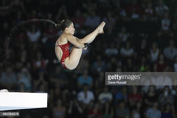 TORONTO ON JULY 10 Roseline Filion of Canada launches into a forward 3 1/2 somersault in the pike position in the women's 10 metre platform diving...