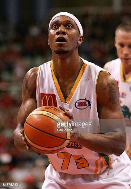 Rosell Ellis of the Crocodiles shoots a free throw during the NBL quarter final match between the Perth Wildcats and the Townsville Crocodiles held...