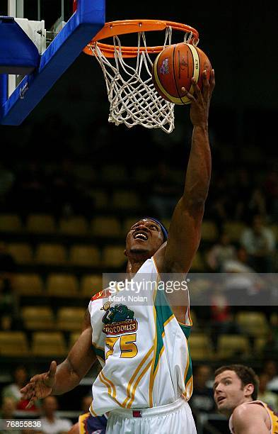 Rosell Ellis of Townsville scores during the round one NBL match between the West Sydney Razorbacks and the Townsville Crocodiles at the Sydney...