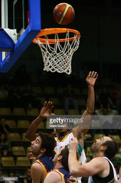 Rosell Ellis of Townsville shoots for the basket during the round one NBL match between the West Sydney Razorbacks and the Townsville Crocodiles at...