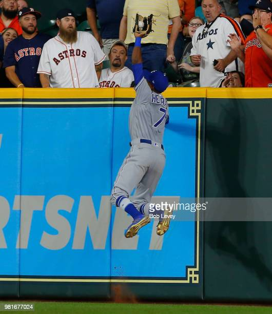 Rosell Herrera of the Kansas City Royals makes a catch at the wall on a line drive by Alex Bregman of the Houston Astros in the eighth inning at...