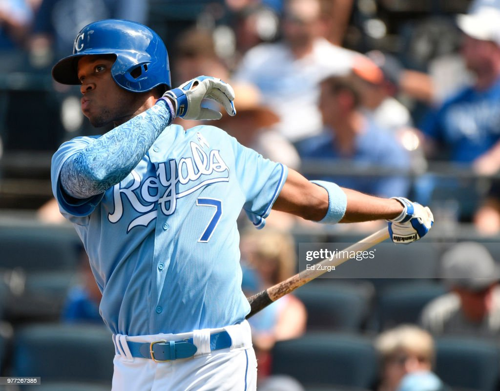 Rosell Herrera #7 of the Kansas City Royals swings his bat as he waits to bat against the Houston Astros in the seventh inning at Kauffman Stadium on June 17, 2018 in Kansas City, Missouri.