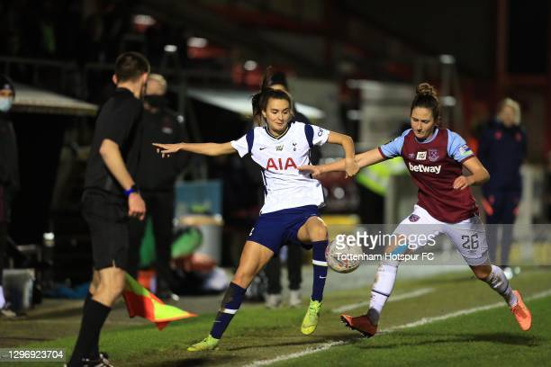 Rosella Ayane of Tottenham Hotspur and Laura Vetterlein of West Ham United during the Barclays FA Women's Super League match between West Ham United...
