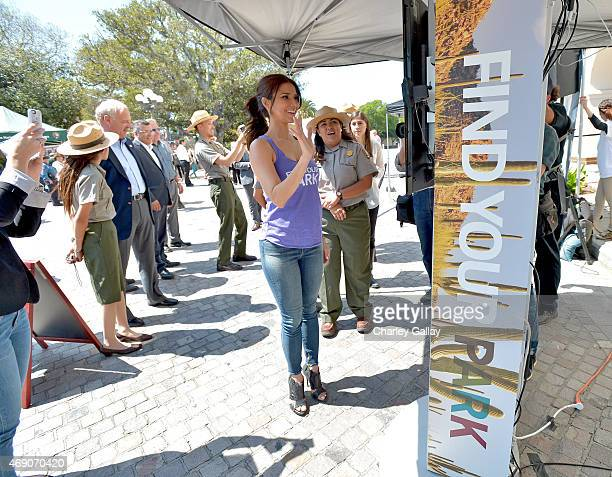 Roselyn Sanchez National Park Service Centennial Ambassador interacts with the Find Your Park Kiosk during the Find Your Park Virtual View Tour event...