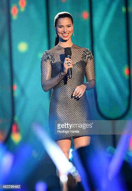 Roselyn Sanchez speaks onstage during the Premios Juventud 2014 at The BankUnited Center on July 17 2014 in Coral Gables Florida