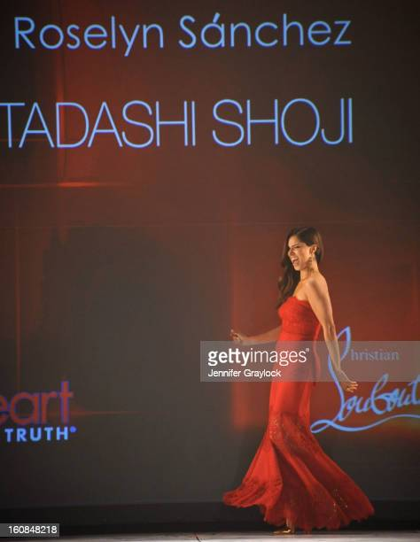 Roselyn Sanchez wearing Tadashi Shoji on the runway during The Heart Truth 2013 Fashion Show held at the Hammerstein Ballroom on February 6 2013 in...