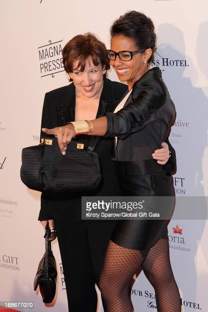 Roselyne Bachelot and Audrey Pulvar attend the 'Global Gift Gala' at Hotel George V on May 13 2013 in Paris France