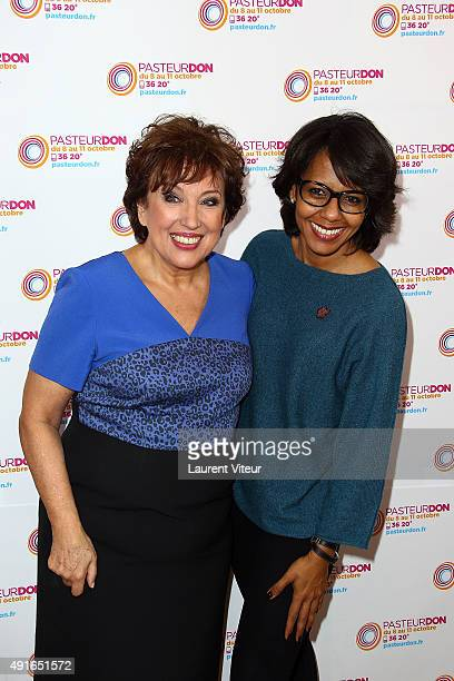 Roselyne Bachelot and Audrey Pulvar attend the Launch of 'Pasteur Don 2015' at Institut Pasteur on October 7 2015 in Paris France