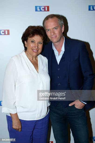 Roselyne Bachelot and Julien Arnaud attend the LCI Press Conference to Announce Their TV Schedule for 2017/2018 on August 30 2017 in Paris France