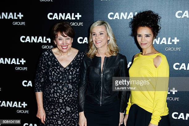 Roselyne Bachelot Laurence Ferrari and Aida Touihri attend the 'Canal Animators' Party At Manko on February 3 2016 in Paris France