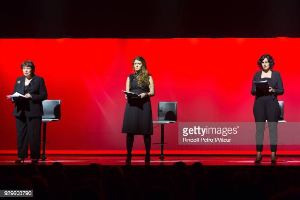 Roselyne Bachelot Marlene Schiappa and Myriam El Khomri Perform Les Monologues du Vagin during 'Paroles Citoyennes 10 shows to wonder about the...