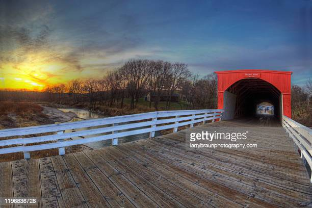 roseman covered bridge 2 - covered bridge stock pictures, royalty-free photos & images