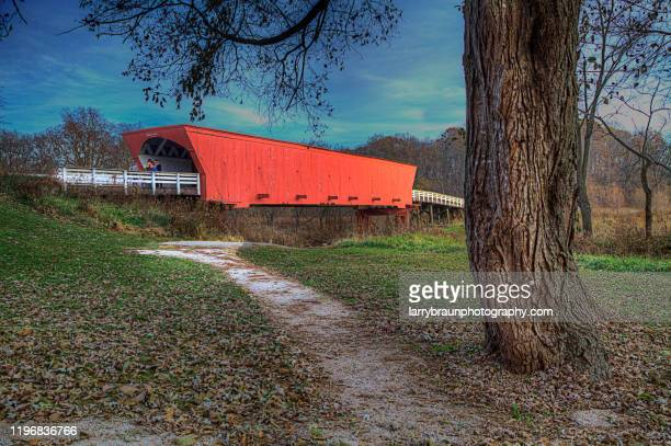 roseman covered bridge - covered bridge stock pictures, royalty-free photos & images