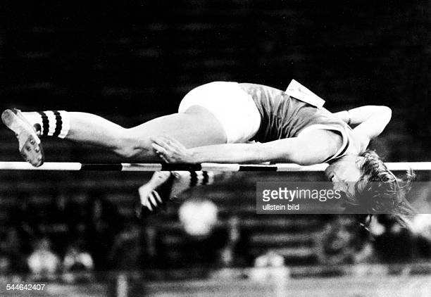 Rosemarie Ackermann Athlete High Jump GDR jumping at the ISTAF in Berlin and breaking the two metre barrier with the world record at the women's high...