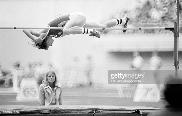 Rosemarie Ackermann of East Germany en route to winning the women's high jump during the Summer Olympic Games in Montreal circa July 1976