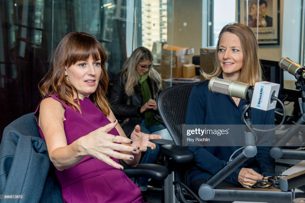 Rosemarie DeWitt and Jodie Foster visit 'Andy Cohen Live' hosted by Andy Cohen on his exclusive SiriusXM channel Radio Andy at SiriusXM Studios on December 11, 2017 in New York City.