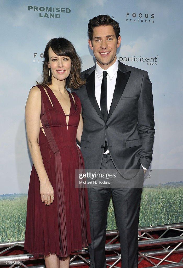 Rosemarie DeWitt and John Krasinski attend the 'Promised Land' premiere at AMC Loews Lincoln Square 13 on December 4, 2012 in New York City.