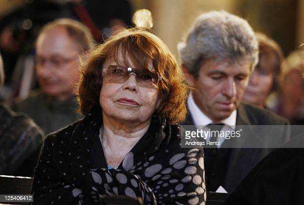 RoseMarie von Buelow widow of late German comedian Vicco von Buelow attends the memorial service to honor Vicco von Buelow at the St Gotthardt church...
