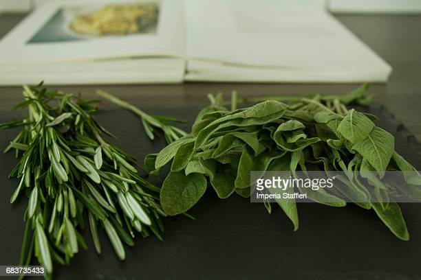 Rosemary and sage with cook book